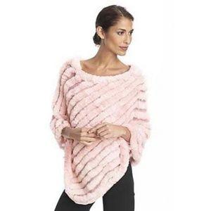 BCBGMaxAzria Rose Rabbit Fur Poncho/Pullover